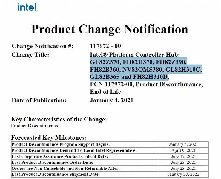 Intel предупреждает заказчиков о прекращении выпуска наборов системной логики 300-й серии