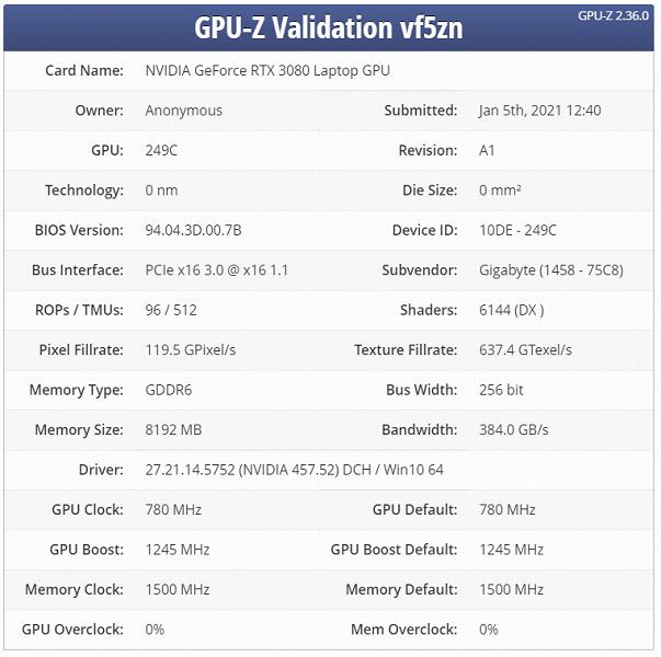 Мобильная видеокарта Nvidia GeForce RTX 3080 будет доступна в десятке разновидностей