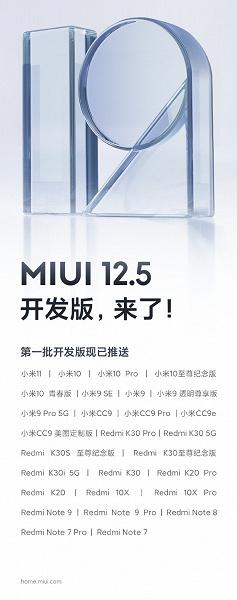 Xiaomi выпустила первую открытую бету MIUI 12.5, поддерживаются 28 моделей смартфонов