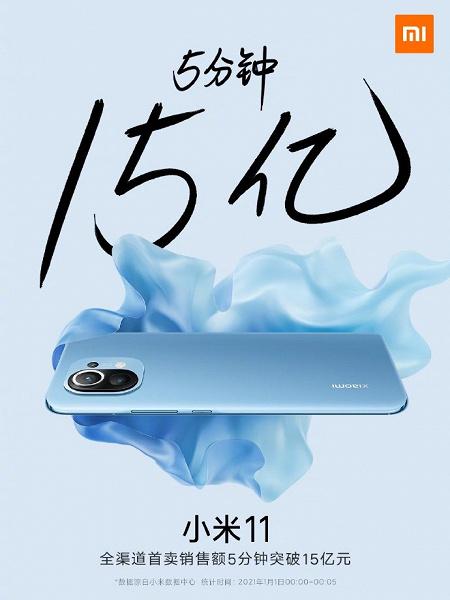 Xiaomi Mi 11 — суперхит. За 5 минут куплено 350 тысяч смартфонов