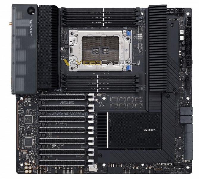 Гигантская плата Asus для очень редких процессоров AMD. Появилось первое изображение AsusWRX80ProWSSageSE