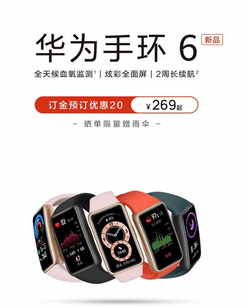 Первый фитнес-браслет Huawei с постоянным мониторингом оксигенации крови, ЧСС, сна, артериального давления и риска апноэ. В Китае стартуют продажи Huawei Band 6