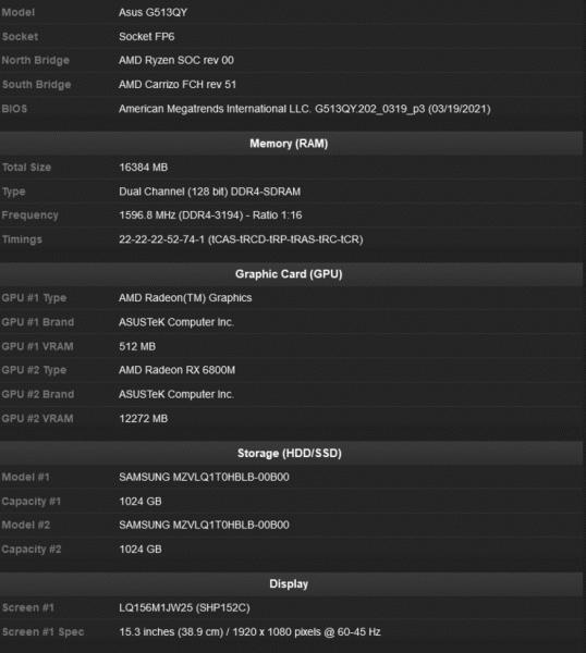 Видеокарта уровня GeForce RTX 2080 от AMD в ноутбуке. AMD Radeon RX 6800M засветилась в мобильном ПК Asus вместе с процессором Ryzen 9 5900HX