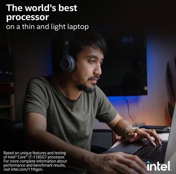 Рекламный ляп Intel. Компания рекламирует свой CPU на фоне фотографии MacBook Pro, который никогда не получит такой процессор