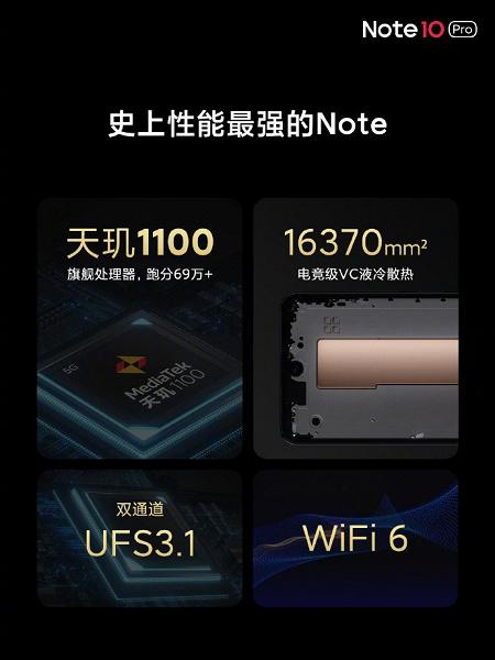 MediaTek Dimensity 1100, 120 Гц, 5000 мА·ч, 64 Мп, NFC 3.0 и 67 Вт за 235 долларов. В Китае представлен Redmi Note 10 Pro