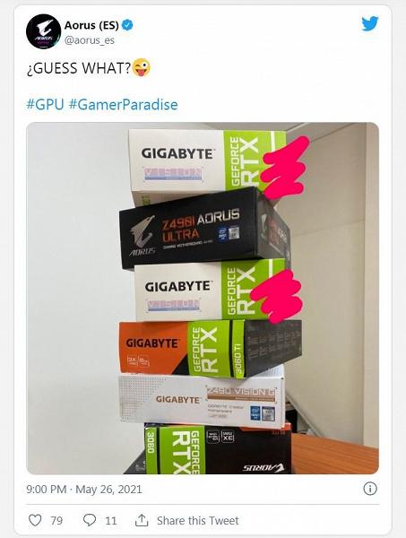 Компания Gigabyte (случайно?) подтвердила намерение выпустить видеокарту RTX 3080 Ti