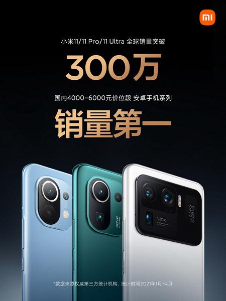 Это хит. За четыре месяц Xiaomi продала три миллиона смартфонов серии Mi 11