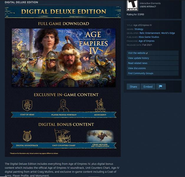 Age of Empires IV засветилась в Steam и на скриншотах