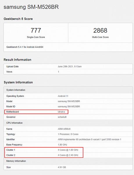 Samsung Galaxy M525G: гигантский аккумулятор и Snapdragon 888? На эту SoC частично указывает Geekbench, но есть сомнения