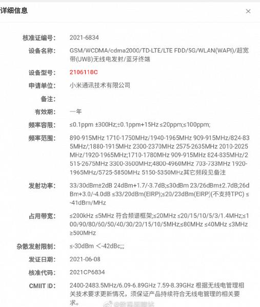Xiaomi Mi Mix 4 уже сертифицируется в Китае. Смартфон получил поддержку связи UWB, как у iPhone 12