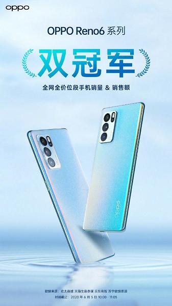 Смартфоны Oppo Reno6 поступили в продажу в Китае и очень быстро стали хитом