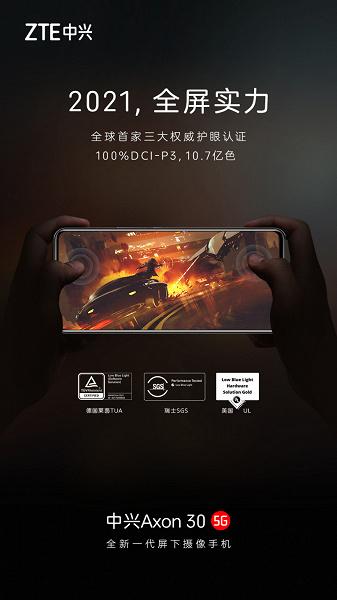 100-процентный охват DCI-P3 и отображение более 1 млрд цветовых оттенков: дисплей смартфона ZTE Axon 30 с подэкранной камерой рассекречен