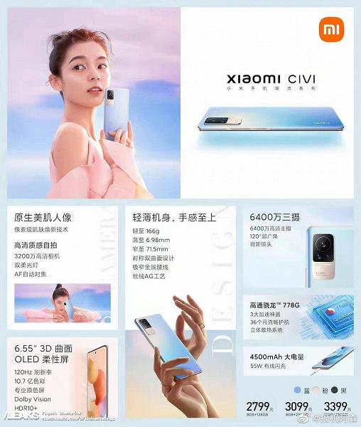 Самый тонкий и легкий смартфон Xiaomi c аккумулятором емкостью 4500 мА·ч оценили в 435 долларов. Все характеристики и стоимость Xiaomi Civi за считанные часы до анонса