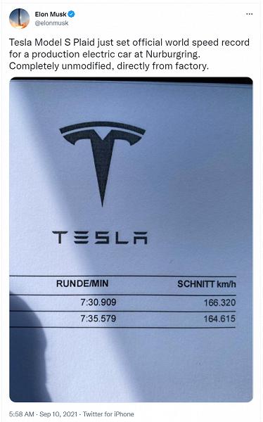 Model S Plaid официально признан самым быстрым серийным электромобилем на треке Нюрбургринга