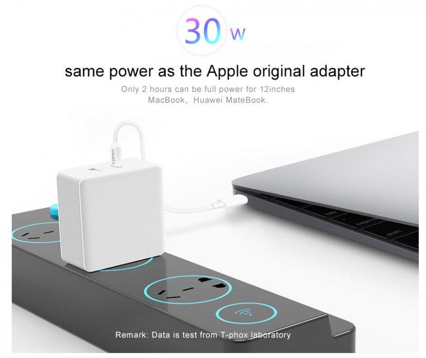 Тест и обзор T-Phox 30W. Зарядное для MacBook, iPad, iPhone, Android