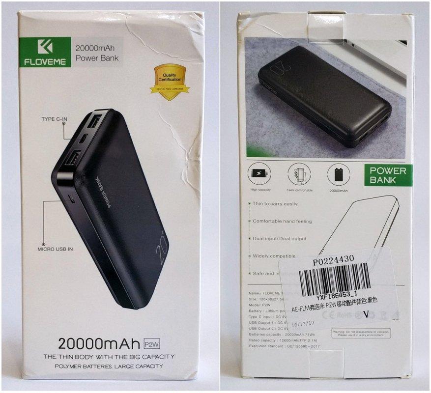 Floveme Portable Power Bank 20000 mAh Batería 2
