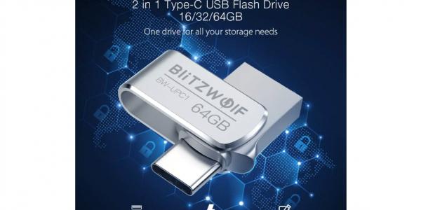 Дешевая двухсторонняя флешка BlitzWolf BW-UPC1, 2-in-1 <b>Type</b> ...