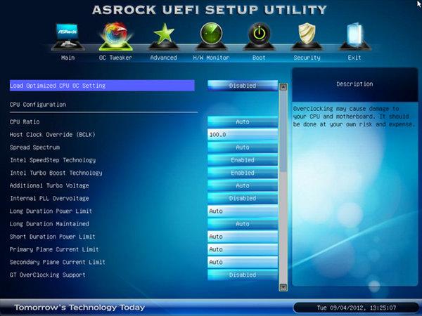 BIOS материнской платы ASRock Z77E-ITX