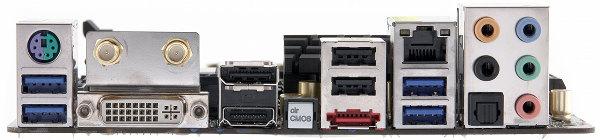 Разъемы задней панели материнской платы ASRock Z77E-ITX