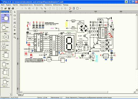 скриншот модели электрической схемы в программе sPlan 4.0
