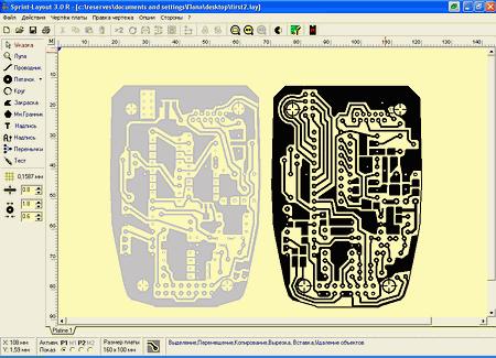 скриншот модели ПП в программе Sprint Layout 3.0R
