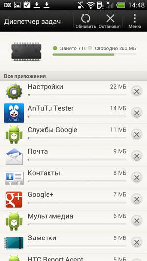 Скриншот смартфона HTC One X