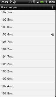 Обзор HTC Evo 3D. Скриншоты. Радиоприемник, список станцийа