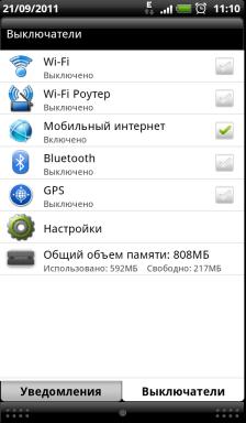 Обзор HTC Evo 3D. Скриншоты. Панель уведомлений, управление коммуникатором