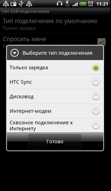 Обзор HTC Evo 3D. Скриншоты. Настройка подключения USB