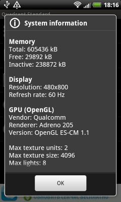 HTC Rhyme системные параметры