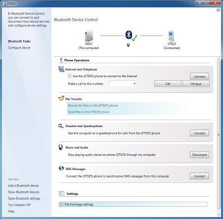 Работа с Motorola XT925 по Bluetooth