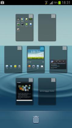 Обзор Samsung Galaxy S 3. Скриншоты. Быстрое переключение между экранами