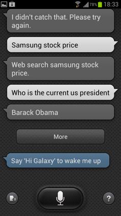 Обзор Samsung Galaxy S 3. Скриншоты. Запрос котировок в S Voice и вопрос о президенте США
