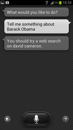 Обзор Samsung Galaxy S 3. Скриншоты. Попытка уточнить информацию о Бараке Обаме в S Voice