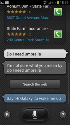Обзор Samsung Galaxy S 3. Скриншоты. Вопрос о зонтике в S Voice