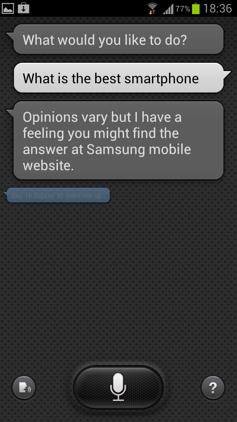 Обзор Samsung Galaxy S 3. Скриншоты. Вопрос на отвлеченную тему в S Voice