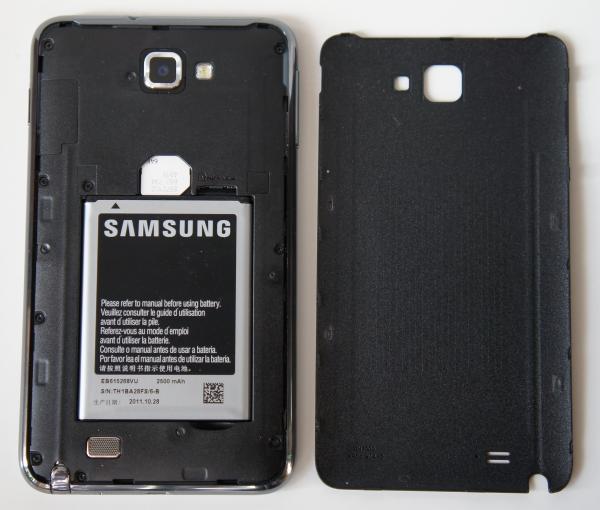 Galaxy Note со снятой крышкой