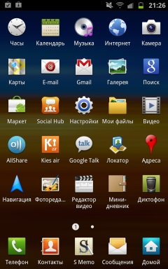 Galaxy Note, оболочка Touch Wiz