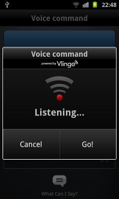 Обзор Samsung Galaxy S II. Скриншоты. Голосовое управление: Получение команды