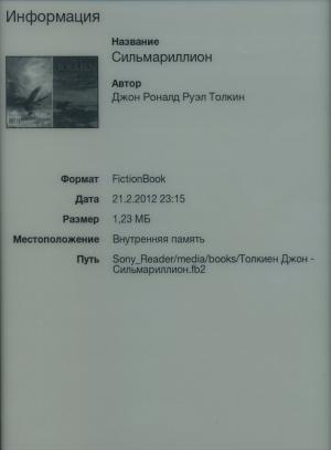 Электронная книга Sony Reader PRS-T1 - информация о файле