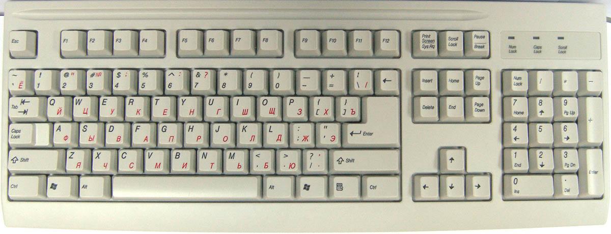 и расположение клавиш.