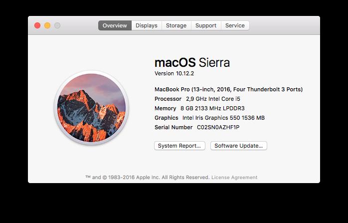 Скриншот с 13-дюймового Apple MacBook Pro (Late 2016)