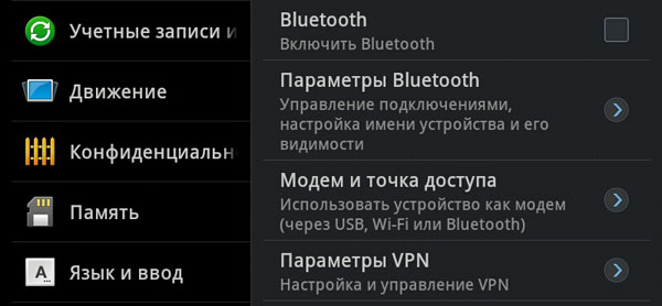 Настройки точки доступа на планшете Samsung Galaxy Tab 7.7