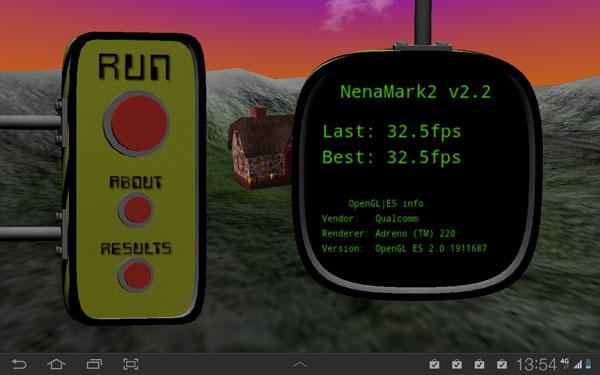 Результаты тестирования Samsung Galaxy Tab 8.9 LTE в NenaMark 2