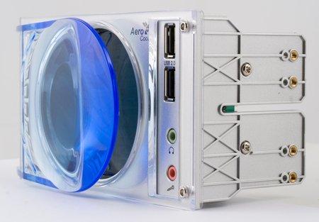 """Контрольная панель-реобас Aerocool GateWatch 2 серебристая для установки в два отсека 5.25 """"."""