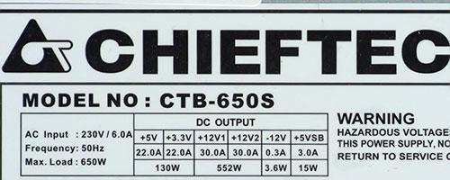 Характеристики блока питания Chieftec CTB-650S