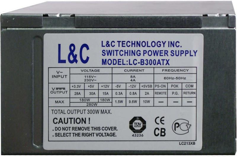 Lc-b300atx.  У этого блока всего 15 ампер по линии 12В.  Блок явно слабоват.