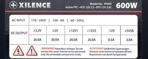 Характеристики блока питания Xilence XP600 (XP600.(135)R3)