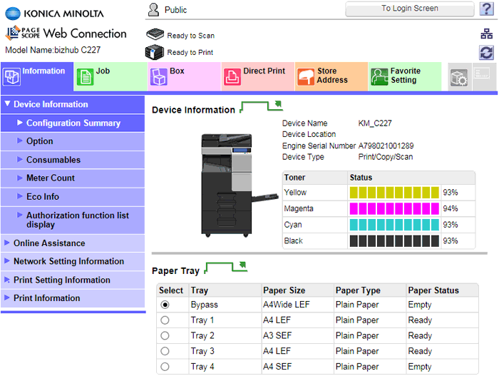 Konica Minolta bizhub C227, web-интерфейс