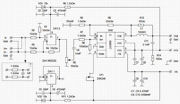 Усилитель на базе LM3886